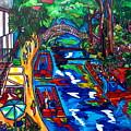 Barges On The Riverwalk by Patti Schermerhorn