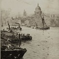 Barges On The South Bank by William Lionel