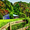 Barn And Fence In Tall Grass by Doug Berry