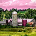 Barn And Silo With Infrared Touch Of Pink Effect by Rose Santuci-Sofranko
