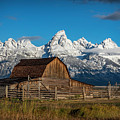 Barn And Snow Capped Tetons by Clicking With Nature