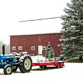 Barn And Tractor Holiday Scene by Janice Drew