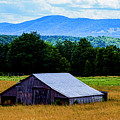 Barn Below Trees And Mountains by Doug Berry
