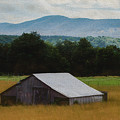 Barn Below Trees And Mountains In Artistic Version by Doug Berry