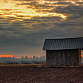 Barn House On The Burning Field by Jukka Heinovirta