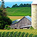 Barn Silo And Crops In Nys Expressionistic Effect by Rose Santuci-Sofranko