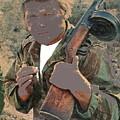 Barry Sadler With Machine Gun On His Shoulder Tucson Arizona 1971-2015 by David Lee Guss