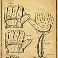 Baseball Glove Patent 1910 Sepia With Border by Bill Cannon