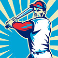 Baseball Player Batting Retro by Aloysius Patrimonio