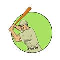 Baseball Player Batting Stance Circle Drawing by Aloysius Patrimonio