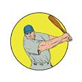 Baseball Player Swinging Bat Drawing by Aloysius Patrimonio
