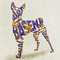 Basenji Dog Watercolor Painting / Typographic Art by Inspirowl Design