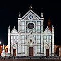 Basilica Di Santa Croce Florence At Night Panorama by Songquan Deng