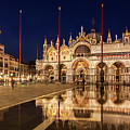 Basilica San Marco Reflections At Night - Venice, Italy by Barry O Carroll