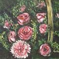 Basket Of Pink Flowers by Usha Shantharam