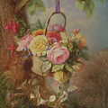 Basket Of Roses With Fuschia, 19th Century by Edward Charles Williams