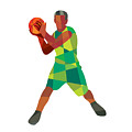 Basketball Player Ball In Action Low Polygon by Aloysius Patrimonio
