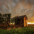 Basking In The Glow - Old Barn At Sunset In Oklahoma Panhandle by Southern Plains Photography