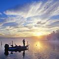 Bass Fisherman At Dawn, Oregon Cascades by Buddy Mays