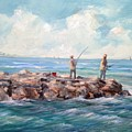 Bass Fishing Off Newport by Perrys Fine Art
