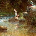 Bathers At The River. Evening In Orinoco? by Ferdinand Konrad Bellermann