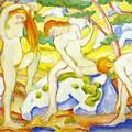 Bathing Girls 1910 by Marc Franz