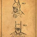 Batman Cowl Patent In Sepia by Bill Cannon