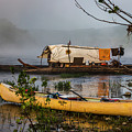 Batteau And Canoe In Fog At Galt's Mill 1708 by Doug Berry