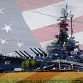 Battleship Alabama Portside With Flag by Michael Thomas