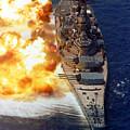 Battleship Uss Iowa Firing Its Mark 7 by Stocktrek Images
