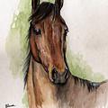Bay Horse Portrait Watercolor Painting 02 2013 by Angel Ciesniarska