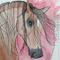 Bay Horse Watercolor by LKB Art and Photography