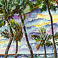 Beach And Palms Tropical Watercolor Painting by Ginette Callaway