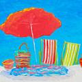 Beach Art - The Red Umbrella by Jan Matson