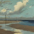 Beach At Low Tide by Frederick Milner