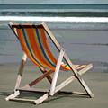 Beach Chair And Ocean Stripes by Elaine Plesser