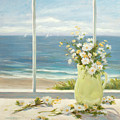 Beach Daisies In Yellow Vase by Tina Obrien