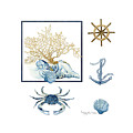 Beach House Nautical Seashells Ships Wheel Anchor N Crab by Audrey Jeanne Roberts