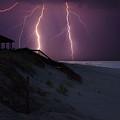 Beach Lighting Storm by Randy Steele