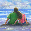 Beach Lovers Pink And Green by Vickie Wade