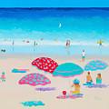 Beach Painting - A Golden Day by Jan Matson