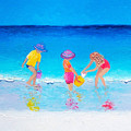Beach Painting - Water Play  by Jan Matson