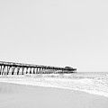 Beach Pier Minimal Black And White Photo by Stephanie McDowell