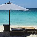 Beach Scene With Lounger And Umbrella by Paul W Sharpe Aka Wizard of Wonders