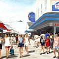 Beach/shore I Boardwalk Ocean City Md - Original Fine Art Painting by G Linsenmayer
