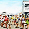 Beach/shore II Boardwalk Beaufort Dock - Original Fine Art Painting by G Linsenmayer