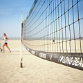 Beach Volleyball Net On The Sand At Long Beach, Ca by Bradley Hebdon