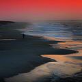 Beach Walk Red Sky Panorama by Michael Thomas