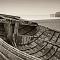 Beached At Brighton In Sepia by Tony Grider