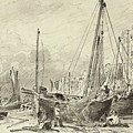 Beached Fishing Boats With Fishermen Mending Nets On The Beach At Brighton, Looking West by John Constable